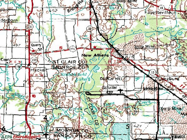 Zip code 62264 topographic map