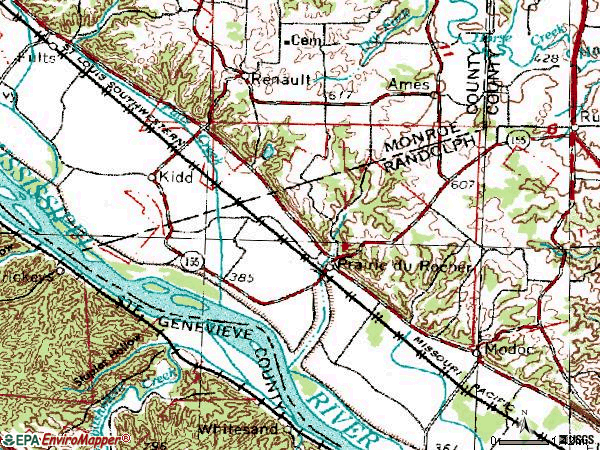 Zip code 62277 topographic map