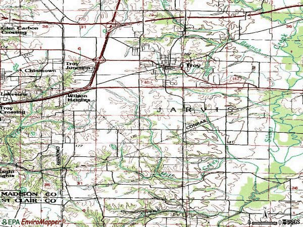 Zip code 62294 topographic map