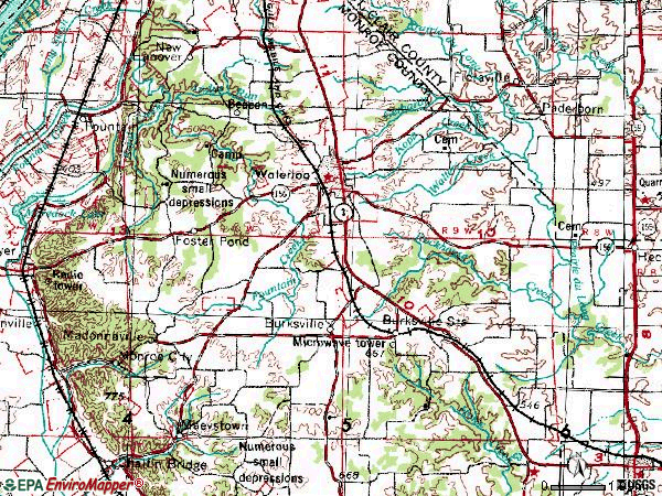 Zip code 62298 topographic map