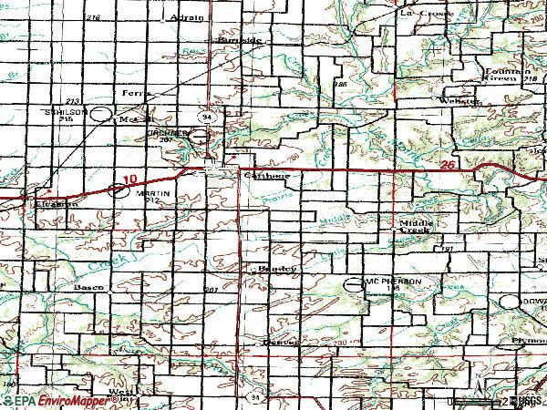 Zip code 62321 topographic map