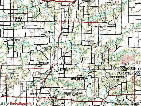 Zip code 62367 topographic map