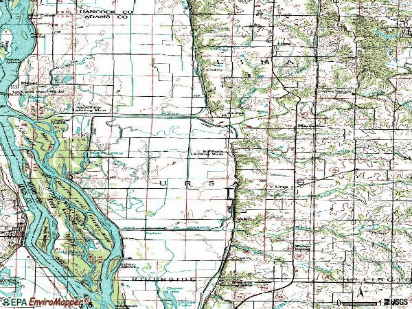 Zip code 62376 topographic map