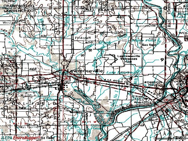 Zip code 62439 topographic map