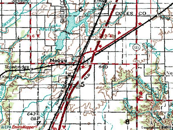 Zip code 62447 topographic map