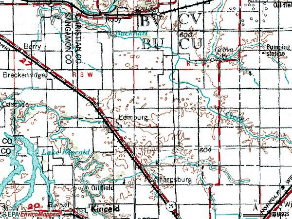 Zip code 62531 topographic map