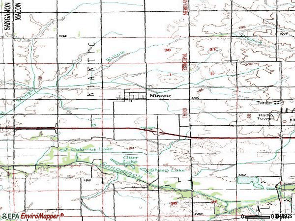 Zip code 62551 topographic map