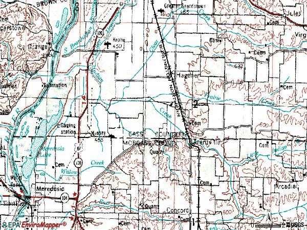 Zip code 62611 topographic map