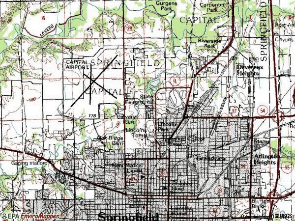 Zip code 62702 topographic map