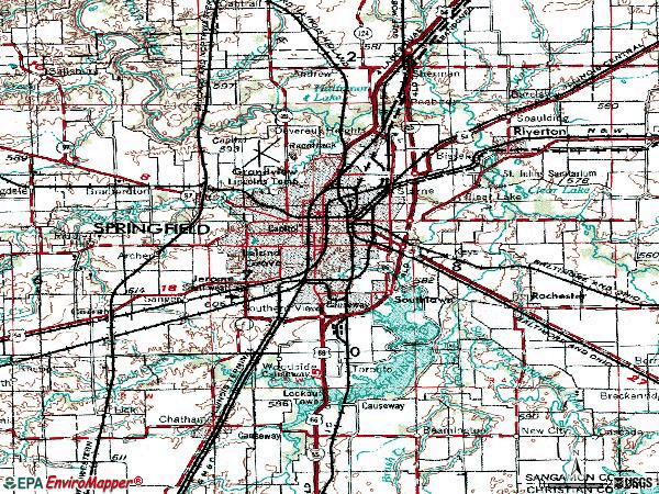 Zip code 62707 topographic map
