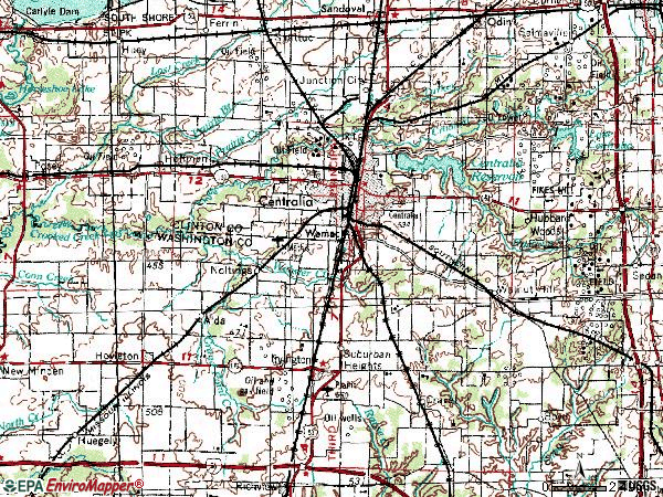 Zip code 62801 topographic map