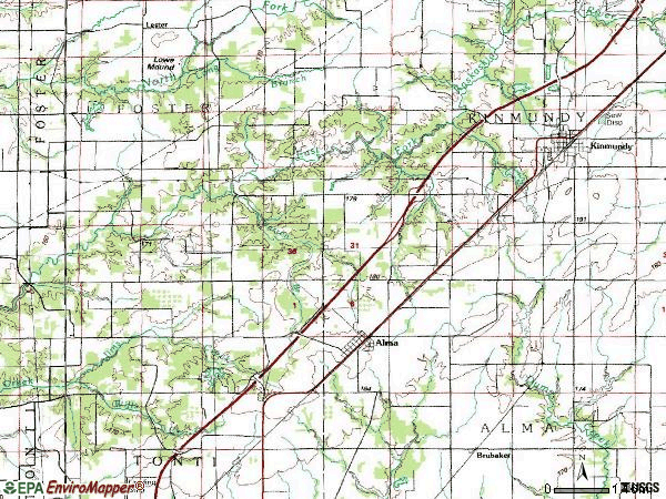 Zip code 62807 topographic map