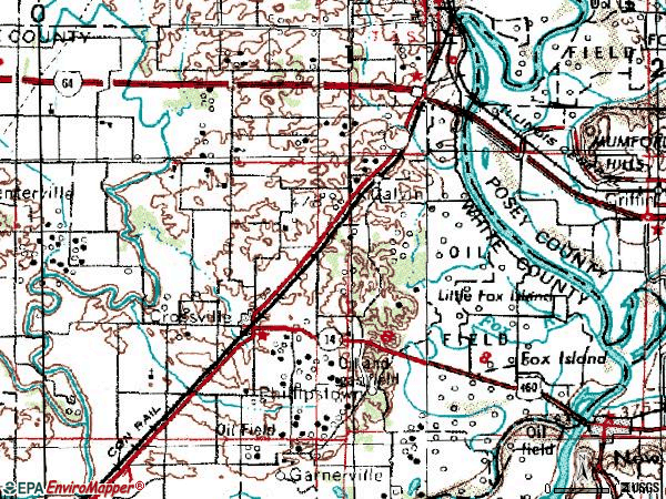 Zip code 62827 topographic map