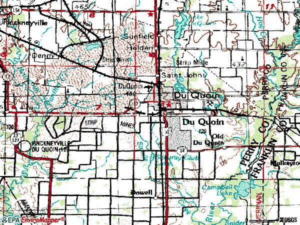 Zip code 62832 topographic map