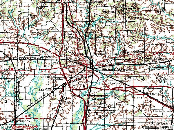 Zip code 62864 topographic map