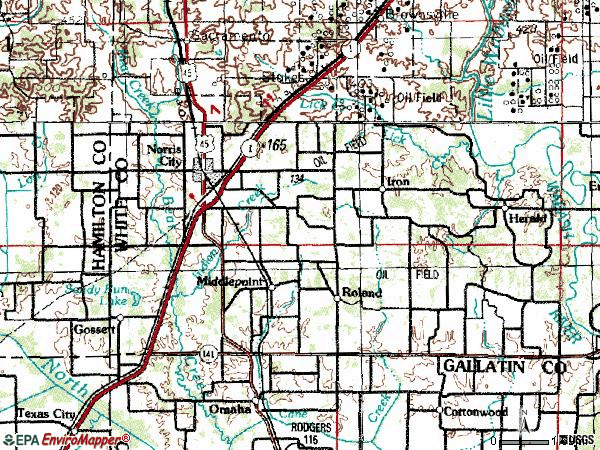 Zip code 62869 topographic map