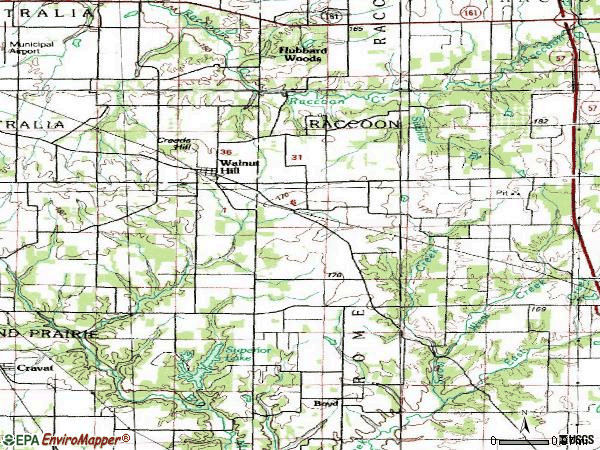 Zip code 62893 topographic map
