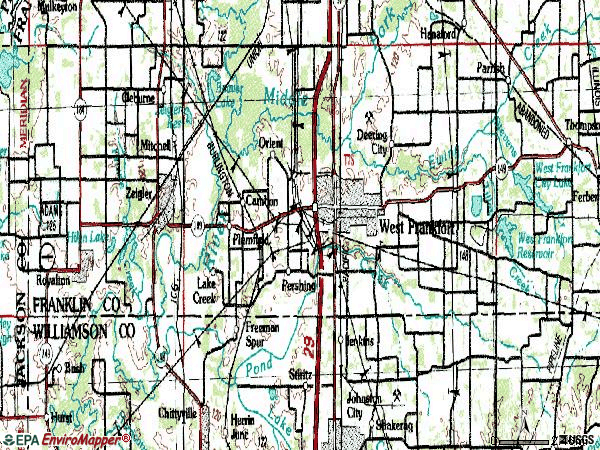 Zip code 62896 topographic map