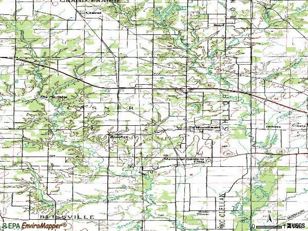 Zip code 62898 topographic map