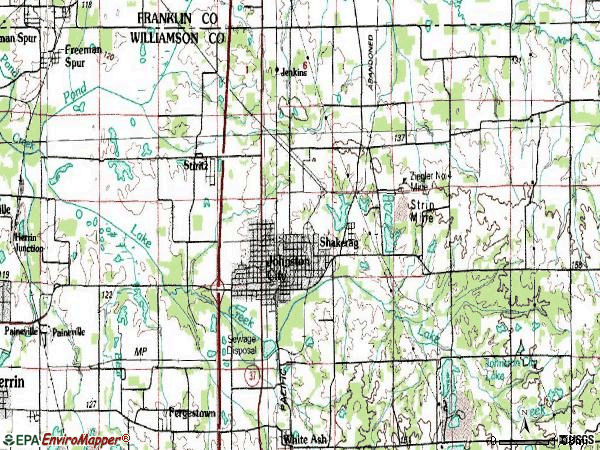 Zip code 62951 topographic map