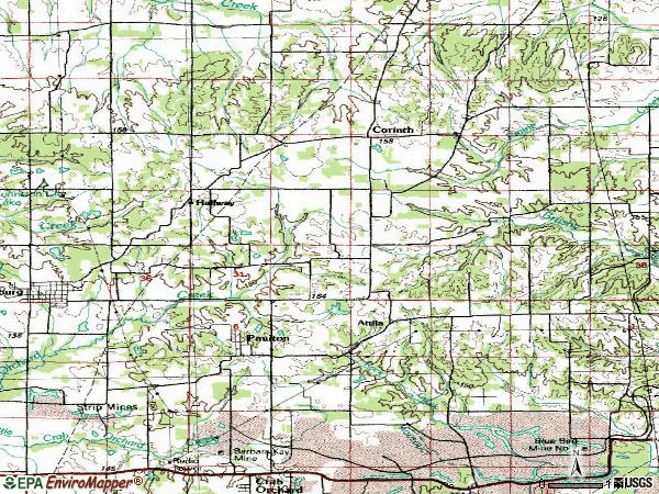 Zip code 62974 topographic map