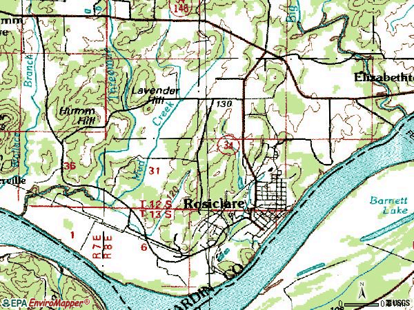Zip code 62982 topographic map