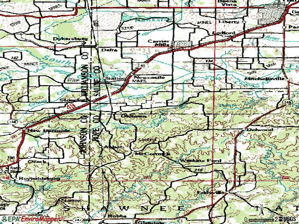 Zip code 62987 topographic map