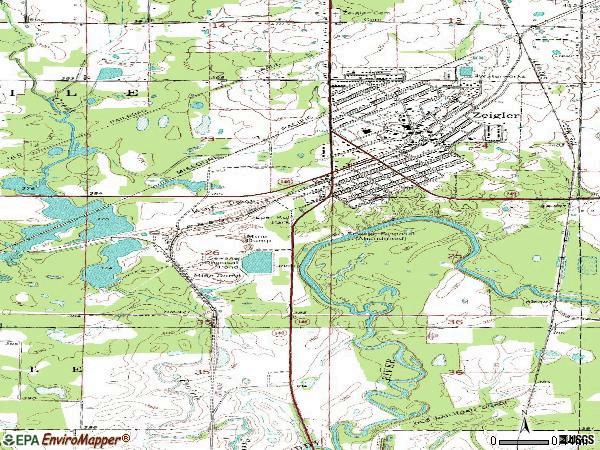 Zip code 62999 topographic map