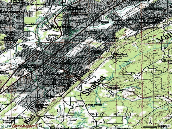 Zip code 35020 topographic map