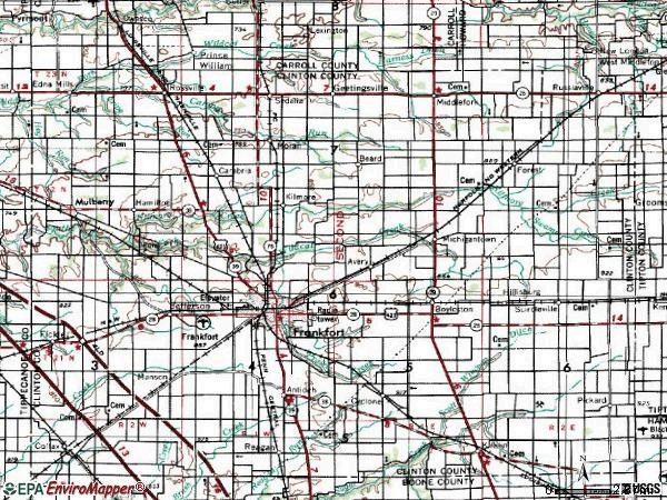 Zip code 46041 topographic map