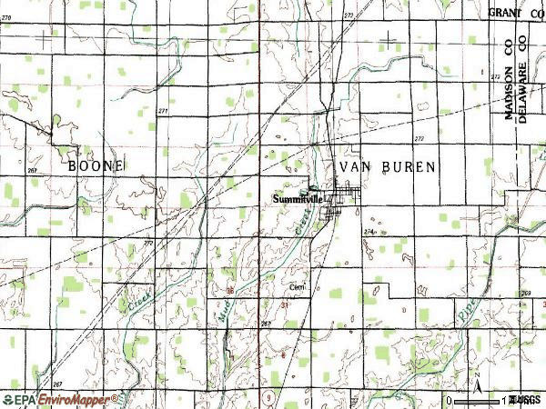Zip code 46070 topographic map