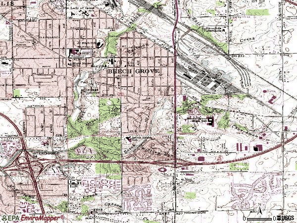 Zip code 46107 topographic map