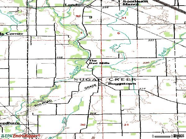 Zip code 46110 topographic map