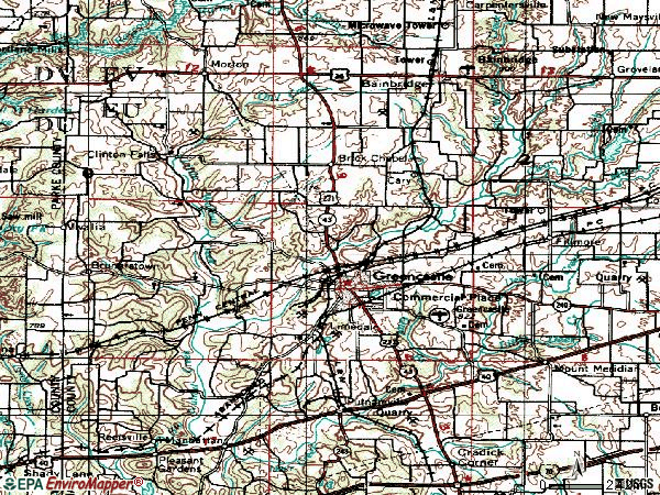 Zip code 46135 topographic map