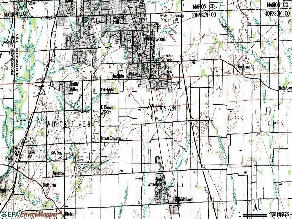 Zip code 46143 topographic map