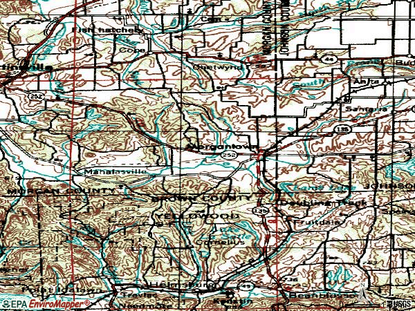 Zip code 46160 topographic map