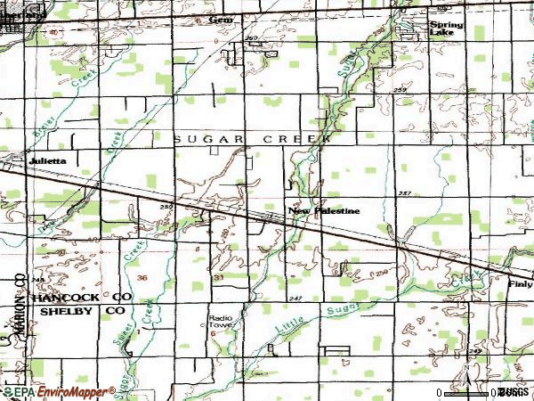Zip code 46163 topographic map