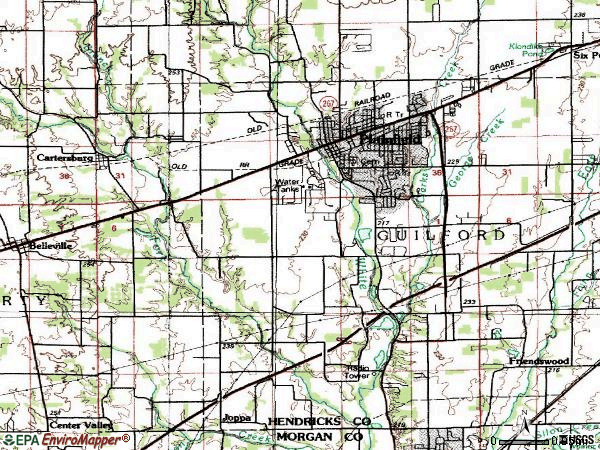 Zip code 46168 topographic map