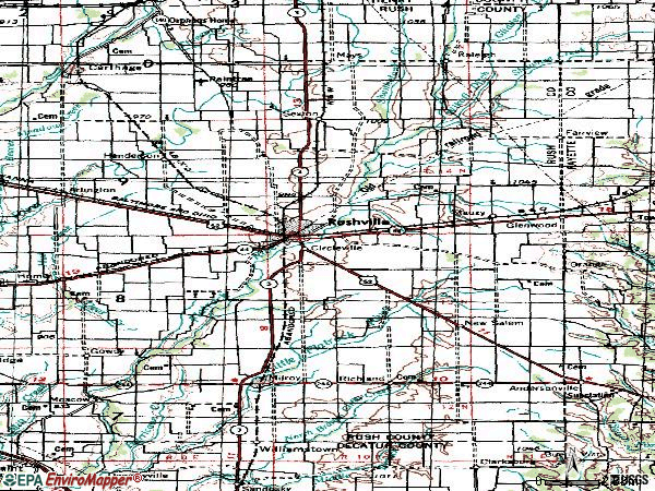 Zip code 46173 topographic map