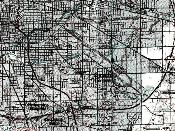 Zip code 46203 topographic map