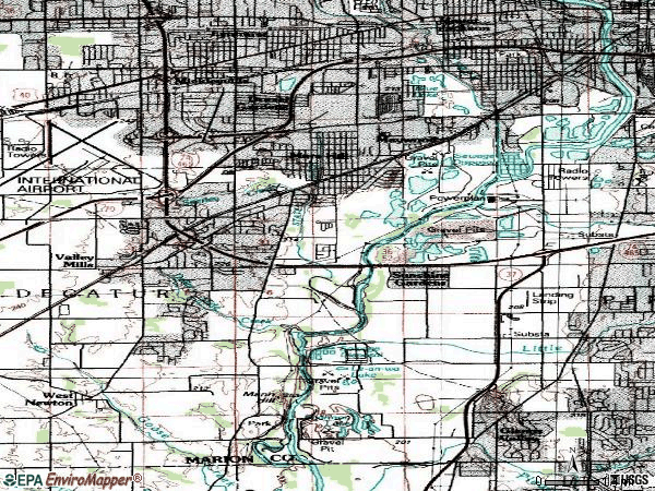 Zip code 46221 topographic map