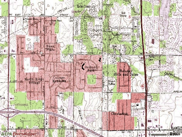 Zip code 46280 topographic map