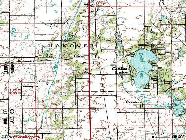 Zip code 46303 topographic map