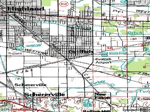 Zip code 46319 topographic map