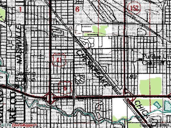 Zip code 46324 topographic map