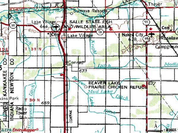Zip code 46349 topographic map