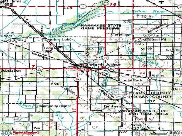 Zip code 46366 topographic map