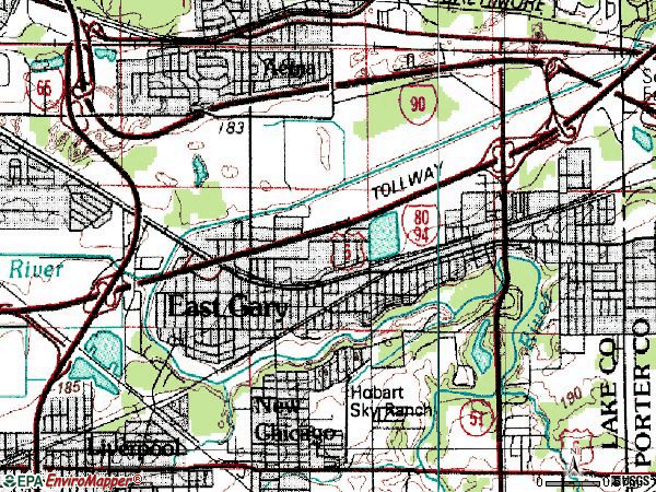 Zip code 46405 topographic map