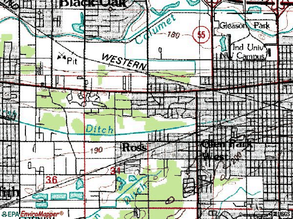 Zip code 46407 topographic map