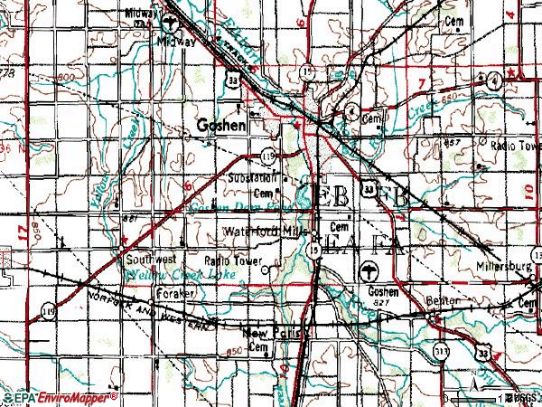 Zip code 46526 topographic map
